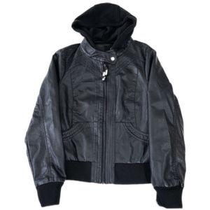 NWOT Full Tilt Faux Leather Hooded Moto Jacket